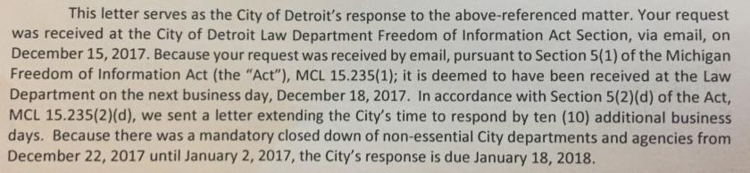 Detroit FOIA response
